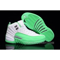 2017 Girls Air Jordan 12 White Green For Sale Top Deals J6X3T