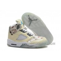 Girls Air Jordan 5 Beige Cherry Blossom For Sale Online S2tma8s