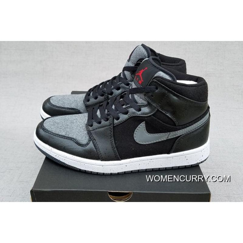 New Air Jordan 1 Mid  Winter Wool  Premium Black Gym Red-Dark Grey ... 8fcf3c59080b