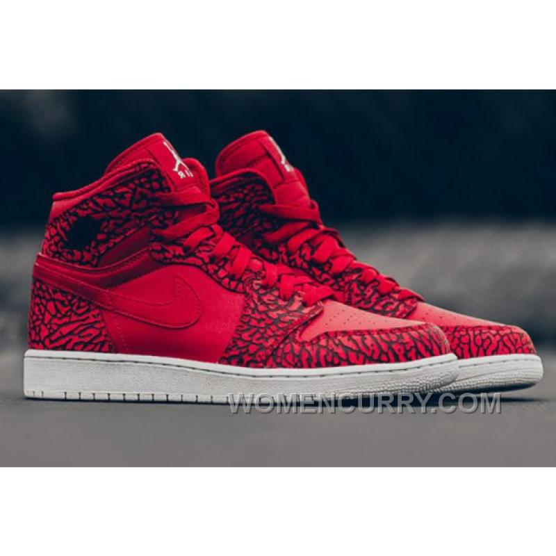 "2017 Mens Air Jordan 1 High ""Red Elephant Print"" For Sale Authentic 2xtfYrR  ..."