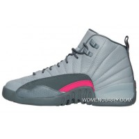 Cheap Air Jordan 12 GS Wolf Grey/Vivid Pink-Cool Grey For Sale