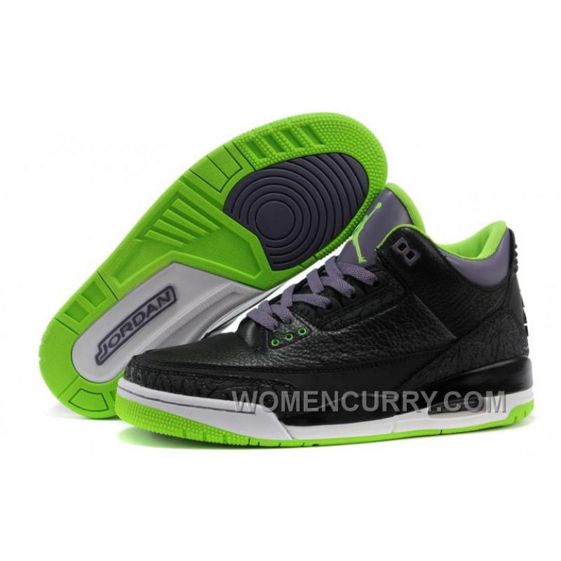 "Mens Air Jordan 3 Retro ""Joker"" Black/Electric Green-Canyon Purple- ..."