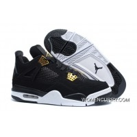 """Royalty"" Air Jordan 4 Black/Metallic Gold-White Release Free Shipping"