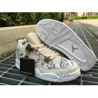 """Snakeskin"" Air Jordan 4 Premium Light Bone/White-Pure Platinum-Wolf Grey Free Shipping"