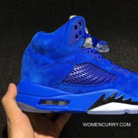 Air Jordan 5 Blue 136021-401 Mens Leather Cheap To Buy