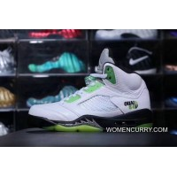 New Style Pure Original Aj5 French Street Game White Green Size FULL GRAIN LEATHER Lychee LEATHER Air Jordan 5 Quai54 Aj5 French Street Game White Green 467827-105
