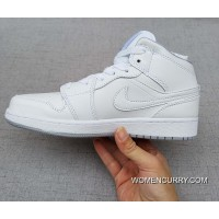 Womens Air Jordan 1 Mid White/Cool Grey-White Authentic
