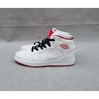 Womens Air Jordan 1 Mid White/Gym Red-Black Authentic