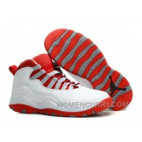 Mens Air Jordan 10 White/Varsity Red For Sale