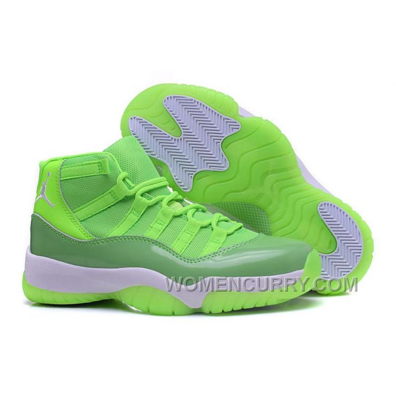 "0e428d3e5f07 2017 Girls Air Jordan 11 ""Neon Green"" For Sale Top Deals"
