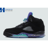 New Air Jordan 5 Black/New Emerald-Grape Ice-Black Best