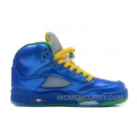 "Air Jordan 5 ""Easter"" Metallic Blue-Yellow/Pine Green For Sale Discount PtPnbj"
