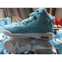 'Pantone' Air Jordan 6 GS Still Blue/White Release Best