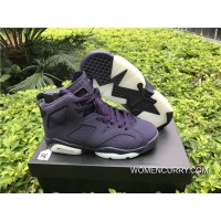 "Womens ""Dark Purple"" Air Jordan 6 GS Purple Dynasty-White Cheap To Buy"
