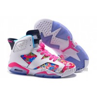 2017 Girls Air Jordan 6 Pink White Floral Print Shoes For Sale Super Deals HCHtSa