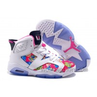 2017 Girls Air Jordan 6 White Pink Floral Print Shoes For Sale Christmas Deals A3imCTz