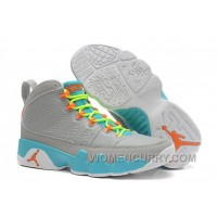 2017 Girls Air Jordan 9 Wolf Grey/Neon Orange-Mint Candy For Sale Authentic R4BSaCZ
