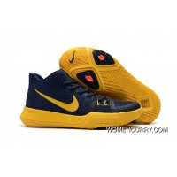 "Girls Nike Kyrie 3 ""Cavs"" Deep Blue Yellow New Style"