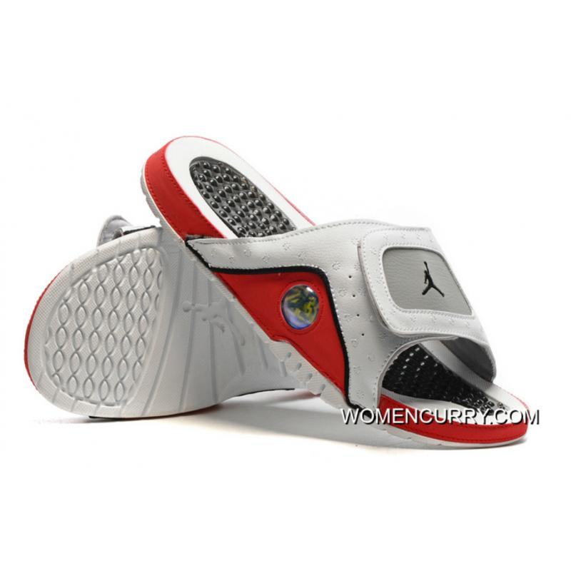 c099f635b974 ... Jordan Hydro 13 Slide Sandals White Black True Red Cement Grey Discount