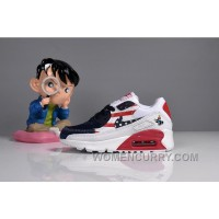 073 MAX 90 Nike Kids Air Max 90 American Flag White Blue Red Super Deals