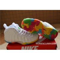 "Nike Air Foamposite One GS ""Fruity Pebbles"" White/Pink Foil-Cascade Blue-Poison Green Free Shipping"