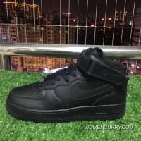 Nike Air Force One 1 Mid 07 Af1 Pure Black Top Sneakers. 315123-001 580b20ee1c2e