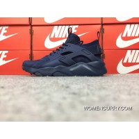 Autumn Fall And Winter Style Nike Air Huarache 4 Texture Pig Leather Series Ultra Run Navy Blue Latest