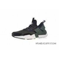 Free Shipping Men Shoes Nike Air Huarache Drift Prm Drift 6 Generation Retro Pattern Jogging Shoes Mesh He Green Black AH7334-300