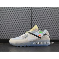 New Release Off-White Nike Air Max 90 X Zoom Jogging Shoes Blue With White Bottom Aa7293-100 Men