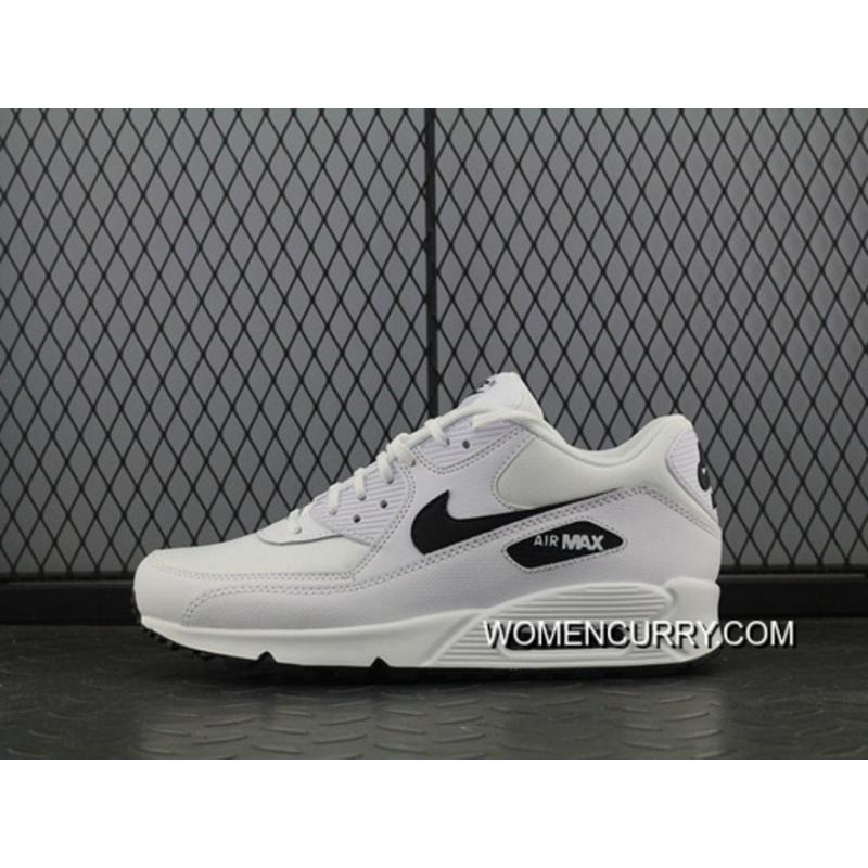 Nike Air Max 90 Essential White Black Men Sport Shoes 325213 131 Cheap To Buy