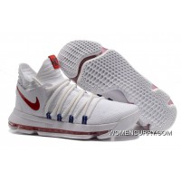 "Discount Nike KD 10 ""USA"" White/University Red-Race Blue"