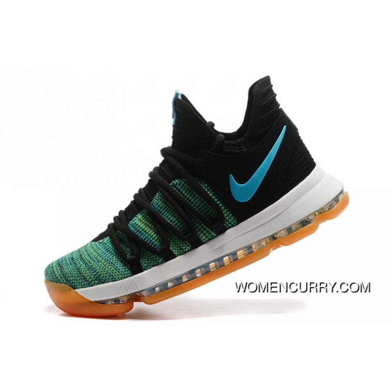 premium selection 9f165 d4c37 Nike KD 10 Green Black White Men Shoes Kevin Durant New Release