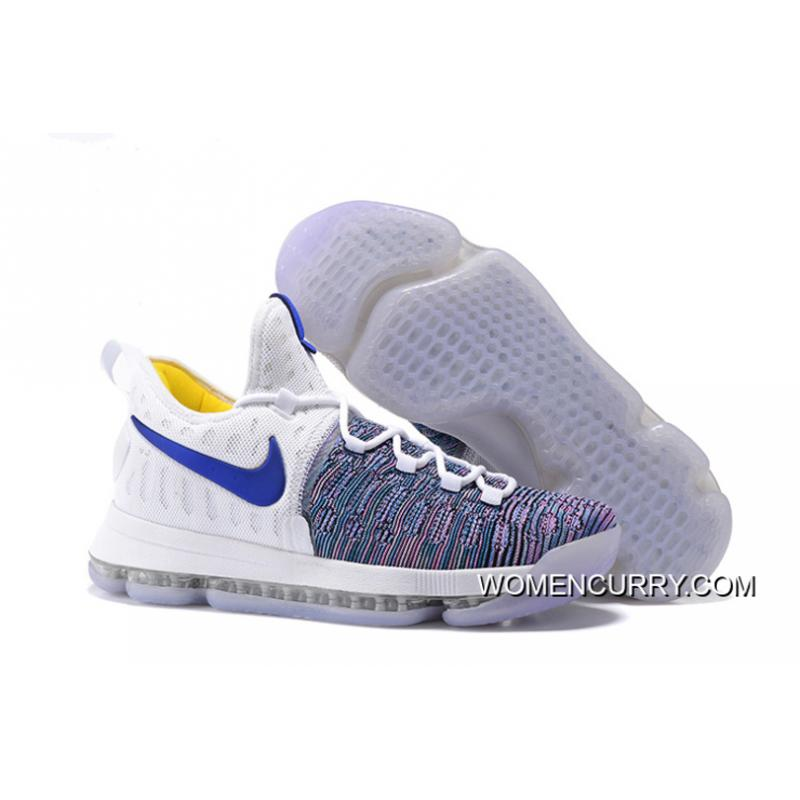 newest 6df3b eb782 'WARRIORS ' Nike KD 9 White Blue Grey Men's Basketball Shoes Authentic