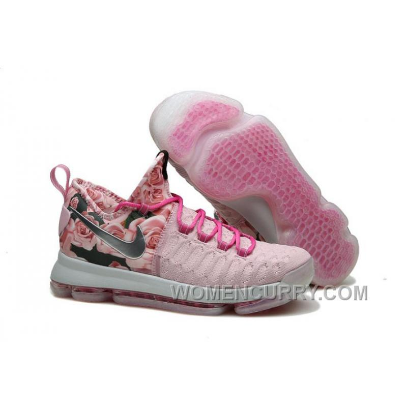 138e96192063 Nike KD 9 Pink Black Aunt Pearl Flora Mens Basketball Shoes Discount ...