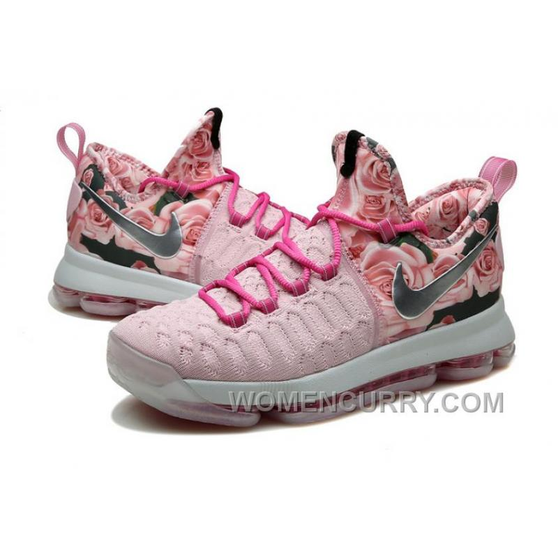low priced 44801 49e4b ... Nike KD 9 Pink Black Aunt Pearl Flora Mens Basketball Shoes Discount  ERsdZb ...