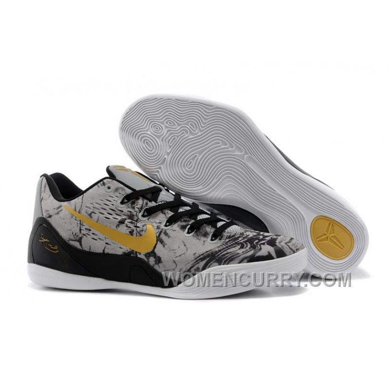 nike kobe 9 low em black grey gold mens basketball shoes cheap to buy 3ksrb