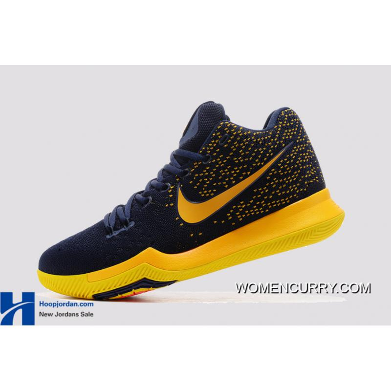 new products d0cf6 a2daf ... Nike Kyrie 3 Cavs Deep Blue Yellow PE Men s Basketball Shoes Best ...