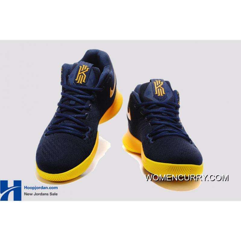 cd60abd4175 ... Nike Kyrie 3 Cavs Deep Blue Yellow PE Men s Basketball Shoes Best ...