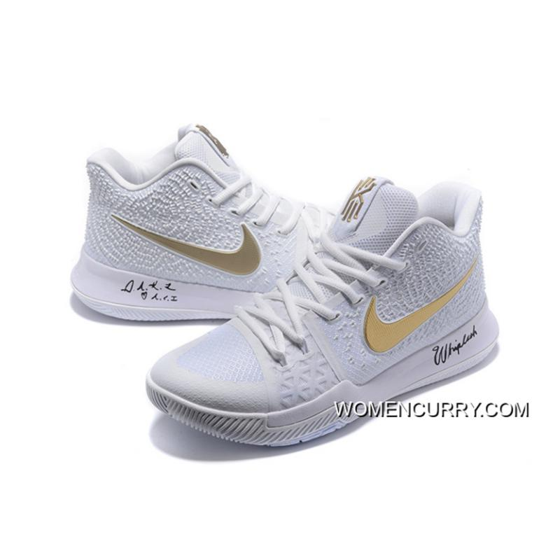 """4bf22062ac9 ... """"White Ice"""" Nike Kyrie 3 White Gold Men s Basketball Shoe New Release ·  """" ..."""