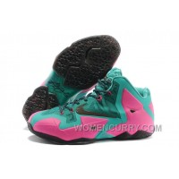 Nike LeBron James 11 Pink/New Green-Black For Sale Authentic A5QzcM