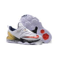 "For Sale 2016 Nike LeBron 13 Low ""USA"" Olympic White/University Red-Obsidian-Metallic Gold"