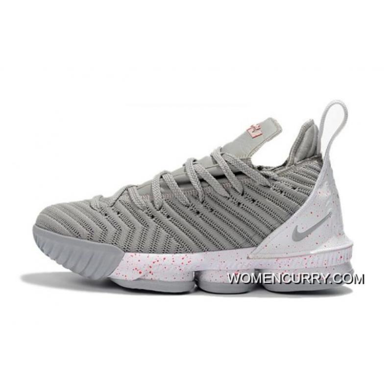 pretty nice 6d79b fda3c Nike LeBron 16 Wolf Grey/White-Red Men's Basketball Shoes Free Shipping  Outlet