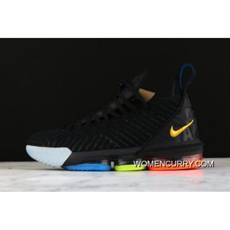 "98d8ad3a264 Nike LeBron 16 ""I Promise"" Black Multi-Color AO2595-004 Best"