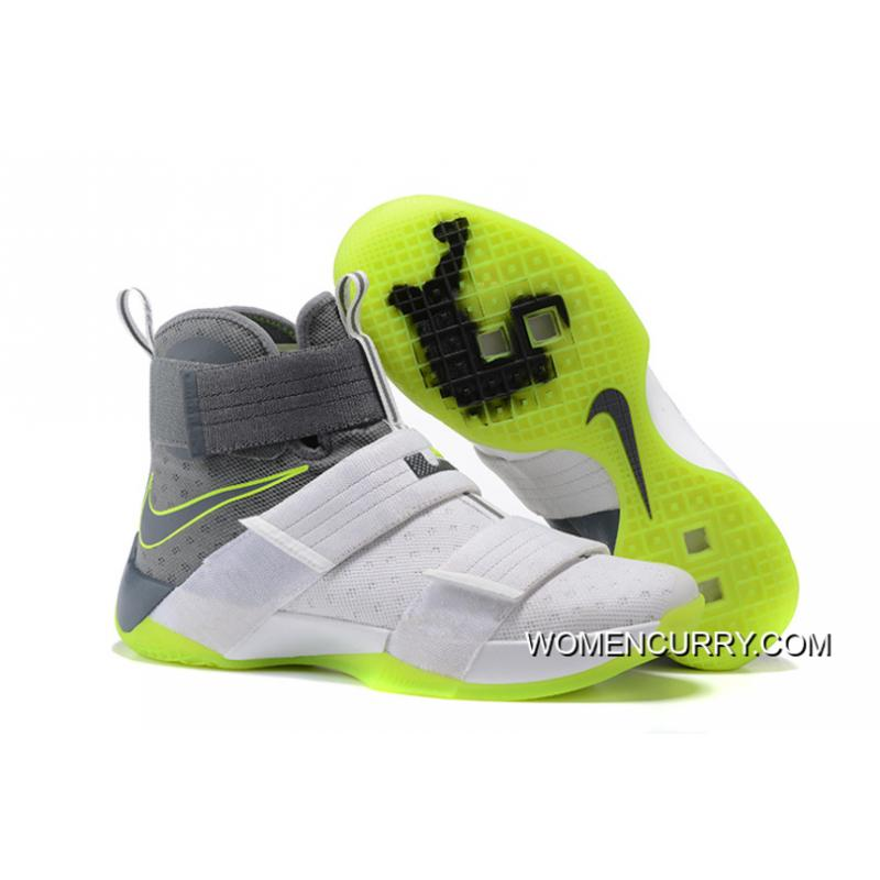 buy online 89745 51c58 ... usa nike zoom lebron soldier 10 dunkman white cool grey electric green  cheap to buy 12122