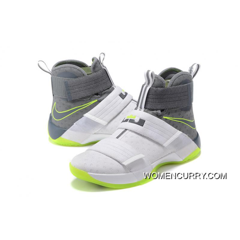 ... Nike Zoom LeBron Soldier 10 Dunkman White/Cool Grey-Electric Green Cheap  To Buy ...