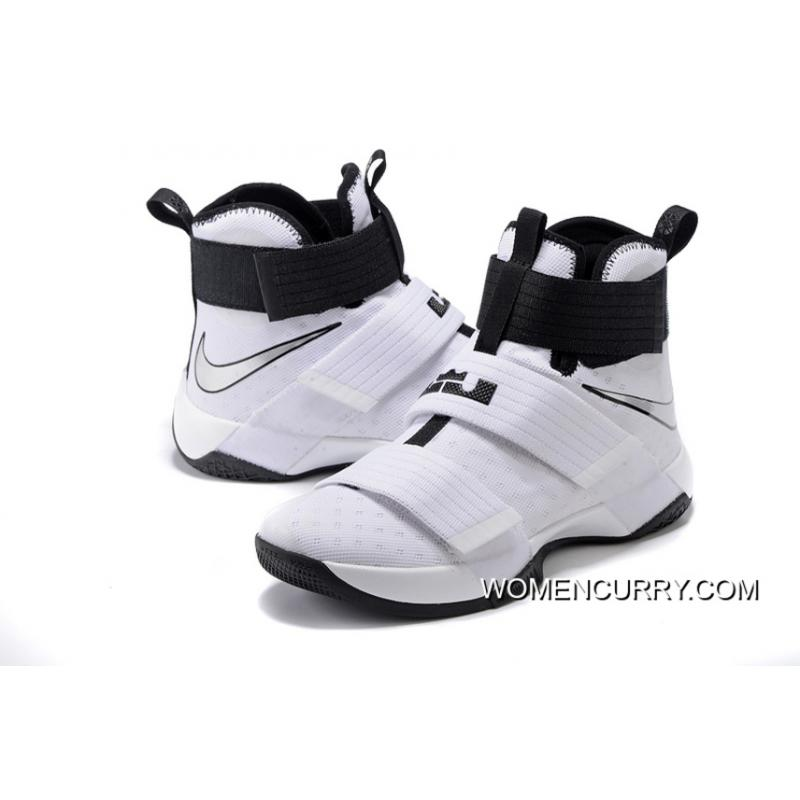 ee6fa9a49535 ... Nike Zoom LeBron Soldier 10 White-Black Metallic Silver Top Deals ...