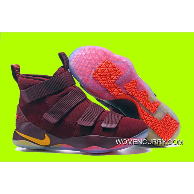 "5831024a096 Cheap Nike LeBron Soldier 11 ""Cavs"" PE Red Yellow Sale Discount ..."