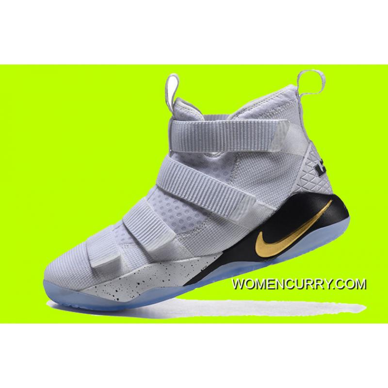 "4e82b10a53c8 ... Cheap Nike LeBron Soldier 11 ""Court General"" White Metallic Gold-Black  New ..."