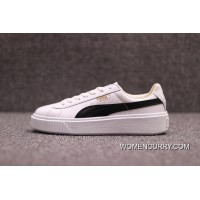 PUMA Basket Platform Rihanna 2 Simplified FULL GRAIN LEATHER 364040-05 White And Black Top Deals