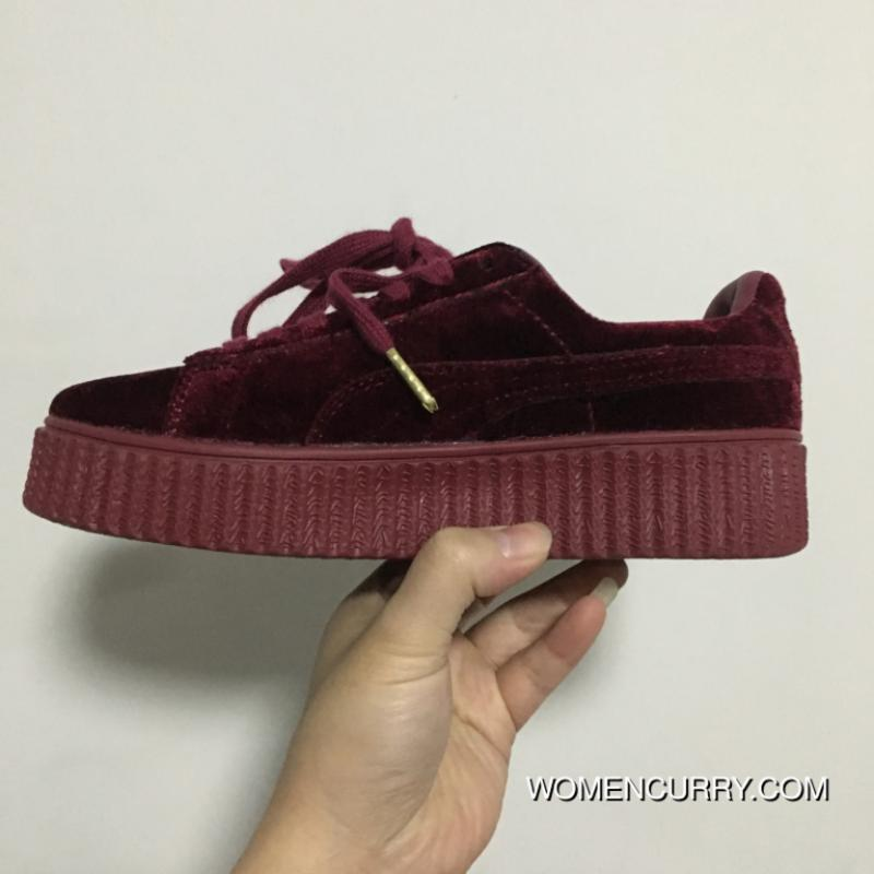 watch 1dc75 eb829 Puma By Rihanna Suede Creepers Velvet Burgundy Women Men Best